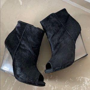 Schutz Black Ponyhair Acrylic Wedge Peep toe Boots